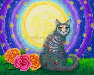 Day of the Dead Cat Moon by tigerpixieart
