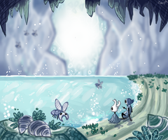 The blue lake by WolvesInTheDawn