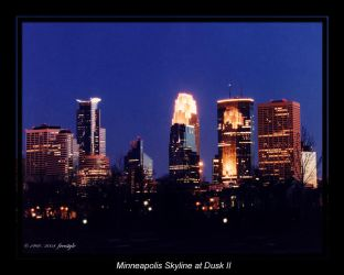 Minneapolis Skyline at Dusk 2 by Freestyle35mm