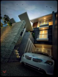 A House in Jakarta-Night View- by And123Akatsuki