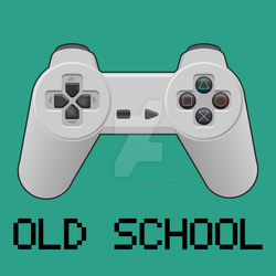 Oldschool gaming - PlayStation(one) controller by null-painter