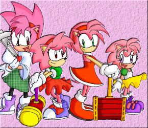 Different Amy Rose's by Tigerfog