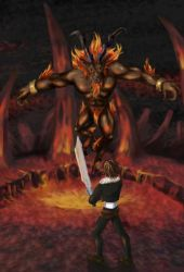 Squall vs Ifrit by vandervals