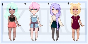 REDUCED $ [OPEN!] Adoptable Auction: Pastel Cuties by xiiru