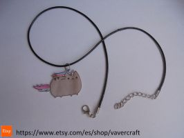 Pusheen cat black necklace by Vavercraft