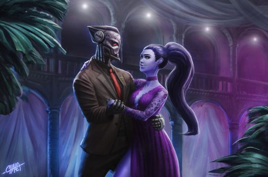 Maximilien and Widowmaker (C) by Challalalla