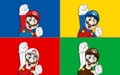 Four Marios Wallpaper by Namelessv1