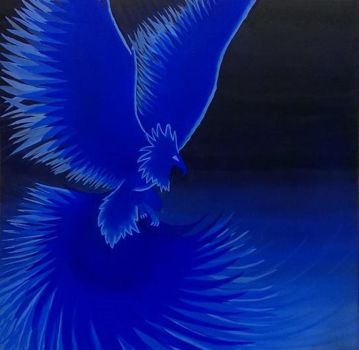 Class Painting  - Final (Falling) - Blue Phoenix by M-Rehe