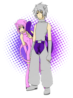 Gijinka Mew and Mewtwo by DeepestSilence