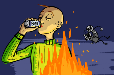 baldi drinks beer while anons fight by sentryworm