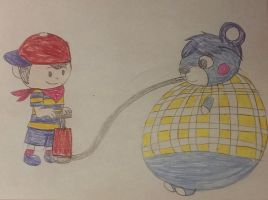 ninten inflates bluebear  by LongHairedLioness
