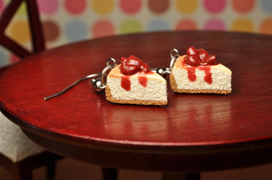 Scented Strawberry Cheesecake Earrings by rottingteeth