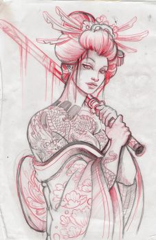 geisha13 sketch by mojoncio