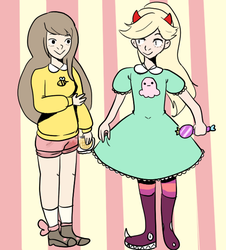 Bee and Star Butterfly by gh0stbun