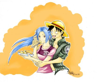 Luffy and Vivi by Florality