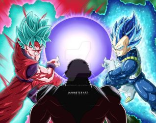 Goku and Vegeta vs Jiren! by MahnsterArt