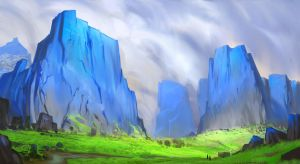 Blue painted mountains Continued by CrimsonSword03