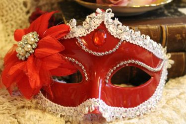 Red Masquerade Mask by VictorianChics