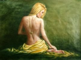 back nude with golden pendant by rogerioarte