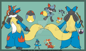 Lucario cross delphox by Catbirdwoman