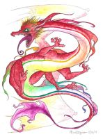 Watercolor Dragon by blabberabbit