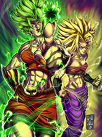 Kale and Caulifla Colored- by Goodsell by GoodsellART