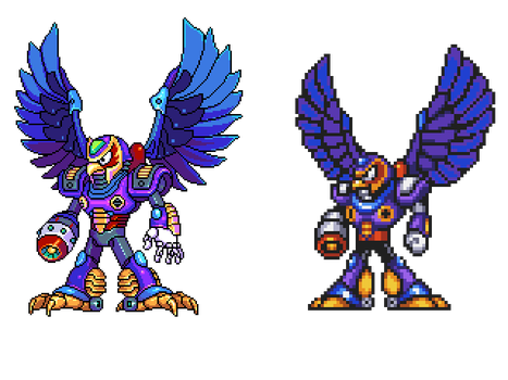 Storm Eagle, MegaManX, pixel upgrade by Omegachaino