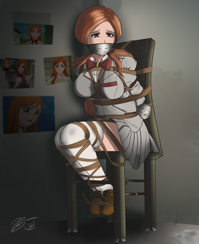 Orihime kidnapped by her N #1 fan (tape gag) by BlackJacke7