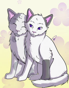 Violet and Pebble by drawingwolf17