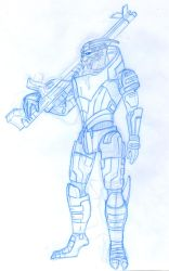 Garrus pencil sketch for a cover project by animemagix