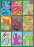 ACEO: Dragon Set by AimOfDestiny