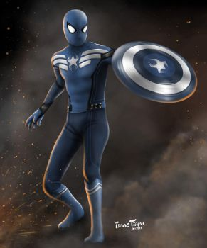 Spider-Man as Captain America by isaactiapa