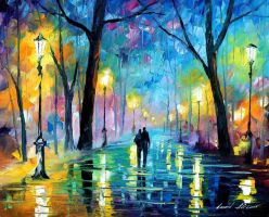 FOG IN THE PARK 2 by Leonid Afremov by Leonidafremov