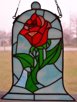 Beauty and the Beast Rose Stained Glass Blue by AutobotWonko