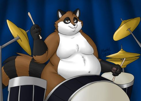 Beeton plays the drums by PudgeyRedFox