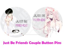 Vocaloid: Just Be Friends Couple Button Pins by hoshikohikari