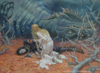 The death of Glaurung by EKukanova