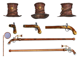 Steampunk Hat Cane Pistol and Monacle by Roy3D