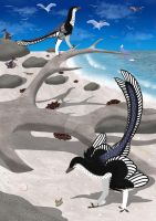 Archaeopteryx beachcombing by TroodonVet
