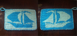 Knitted Blue Ship Potholder by Schorchingskys