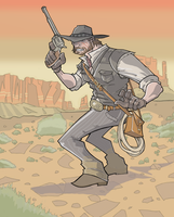 Red Dead Redemption's John Marston in Full-Color by davidstonecipher