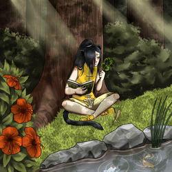 Studying under a tree by kiba-chan27