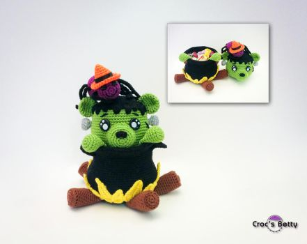 FrankenTeddy pot by Crocsbetty