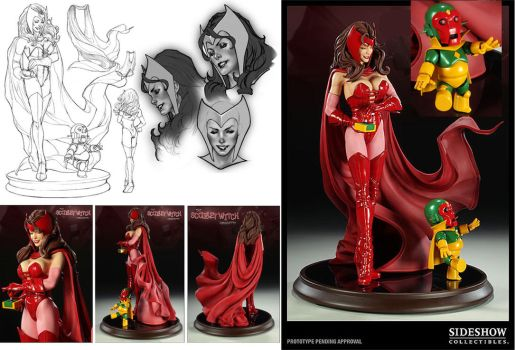 Scarlet Witch statue designs by diablo2003