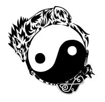 Tribal Wolf and Cat Yin Yang Tattoo V2 by wolfsouled