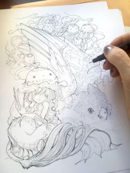 Mermaid Drawing In Progress by camilladerrico