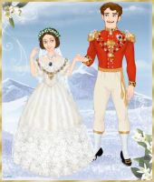 Queen Victoria and Prince Albert in wedding attire by Arrelline