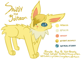 Sandy the Jolteon (OC Refsheet) by Catbreon