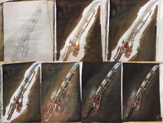 drawing progression : shishkebab from fallout by BlacksmithOWY