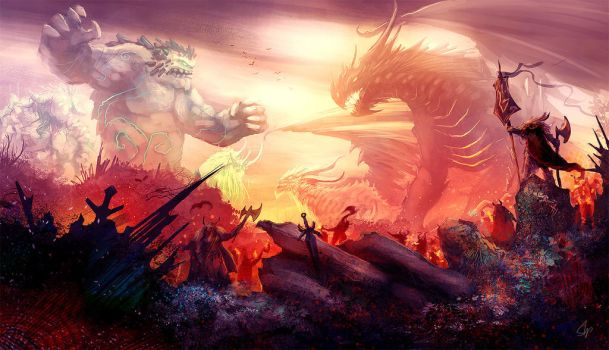 Titans and Dragons Battle by slipled
